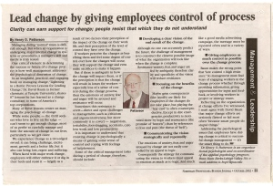 # 1 - Oct 02 - Lead change by giving employees control of process