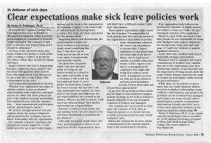 # 6 - Aug 03 - Clear expectations make sick leave policies work