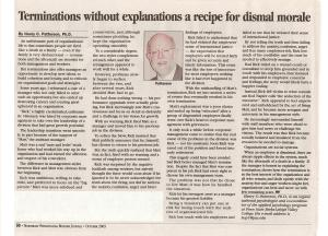 # 7 - Oct 03 - Terminations without explanations a recipe for dismal morale