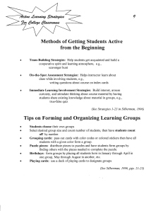 Methods for Getting Students Active from Beginning