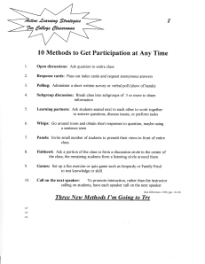 Ten Methods to Get Participation